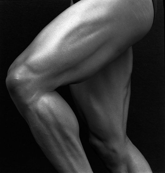 Muscular legs of sprinter, close up, studio shot