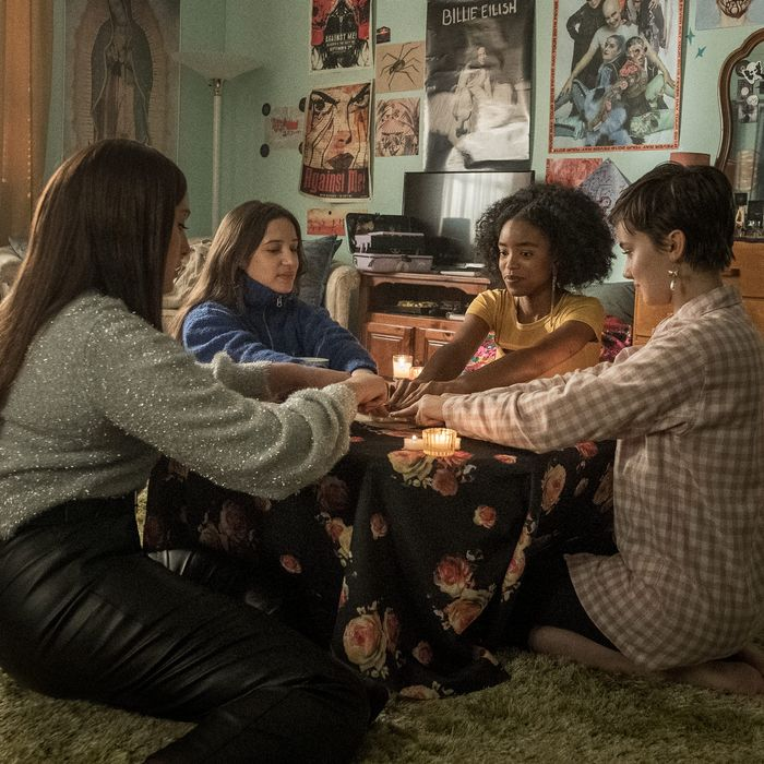 Zoey Luna, Gideon Adlon, Lovie Simone, and Cailee Spaeny in The Craft: Legacy