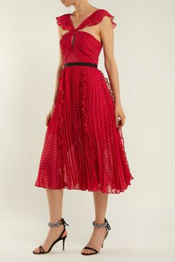 Self-Portrait Ruffle-Trimmed Pleated Dress