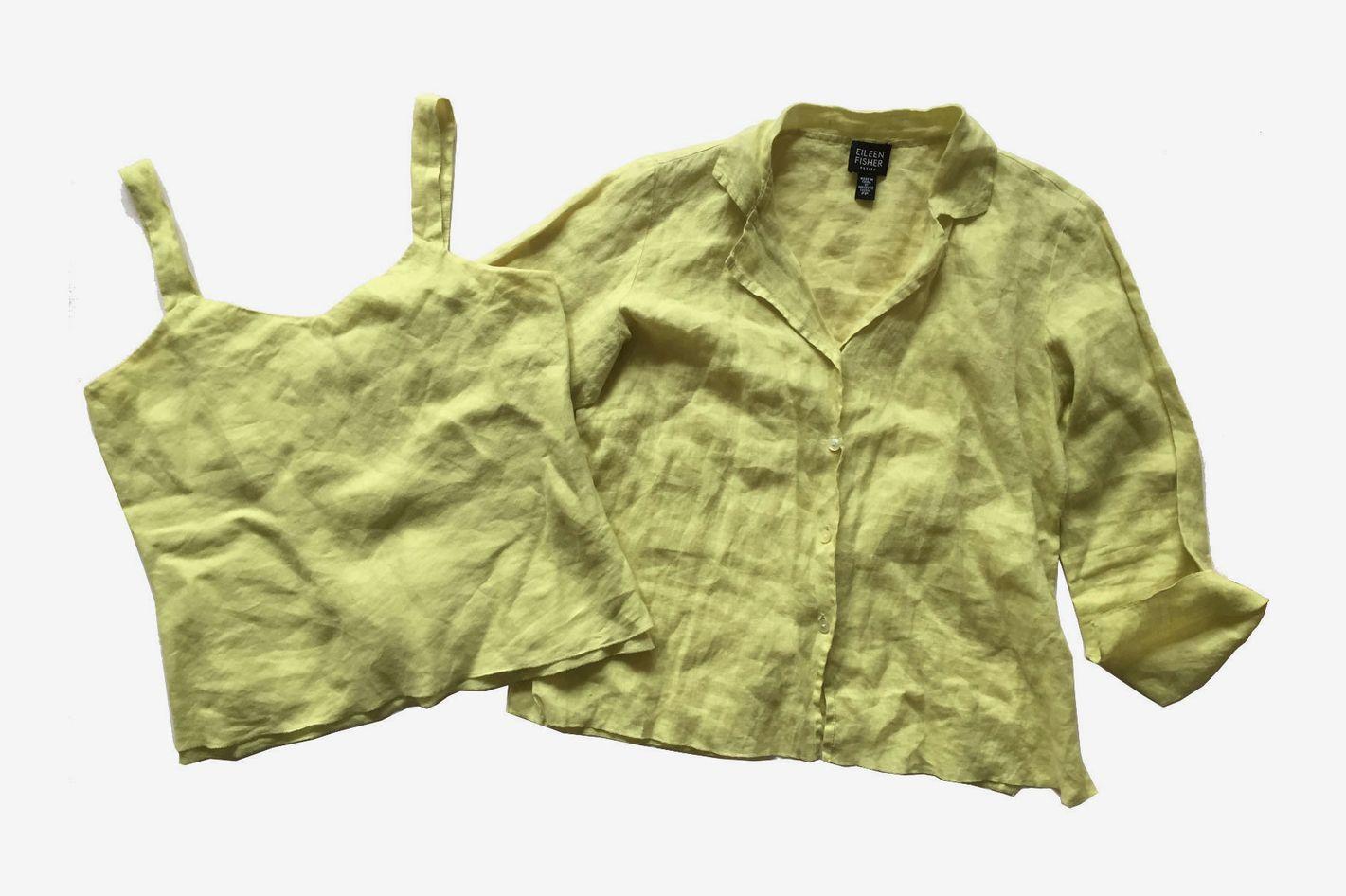 0a17fa419 Eileen Fisher 2-Piece TwinSet Citron Linen Tank and Shirt Set