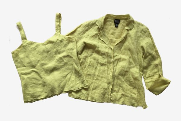 Eileen Fisher 2-Piece TwinSet Citron Linen Tank and Shirt Set