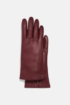 COACH Sculpted Signature Leather Tech Gloves, Wine