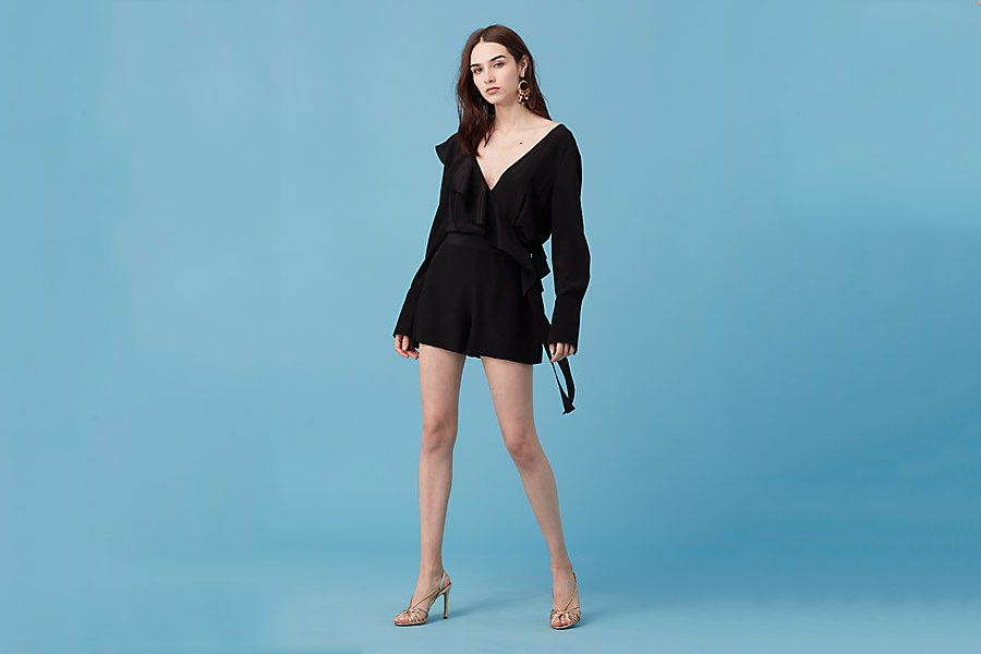 DVF Long Sleeve Ruffle Romper