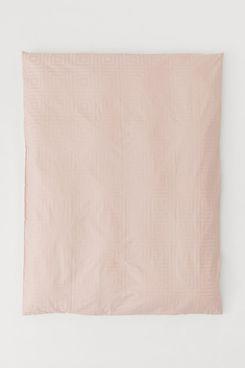 Jacquard-Weave Duvet Cover (Pink)