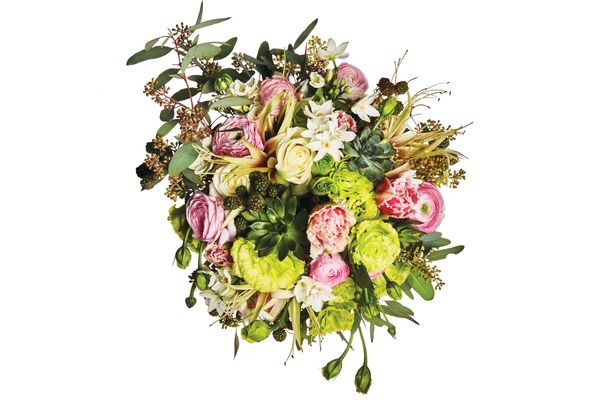 Seeded eucalyptus, ranunculus, wild berry, green lisianthus, spider amaryllis, pink peony tulip, Polo rose, paperwhite, and succulents