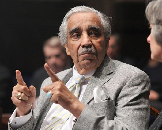 WASHINGTON - JANUARY 14:  U.S. Rep. Charles Rangel (D-NY) talks before the arrival of President Barack Obama, who delivered remarks at the House Democratic Caucus retreat at the U.S. Capitol Visitors Center January 14, 2010 in Washington, DC.  (Photo by Ron Sachs-Pool/Getty Images) *** Local Caption *** Charles Rangel
