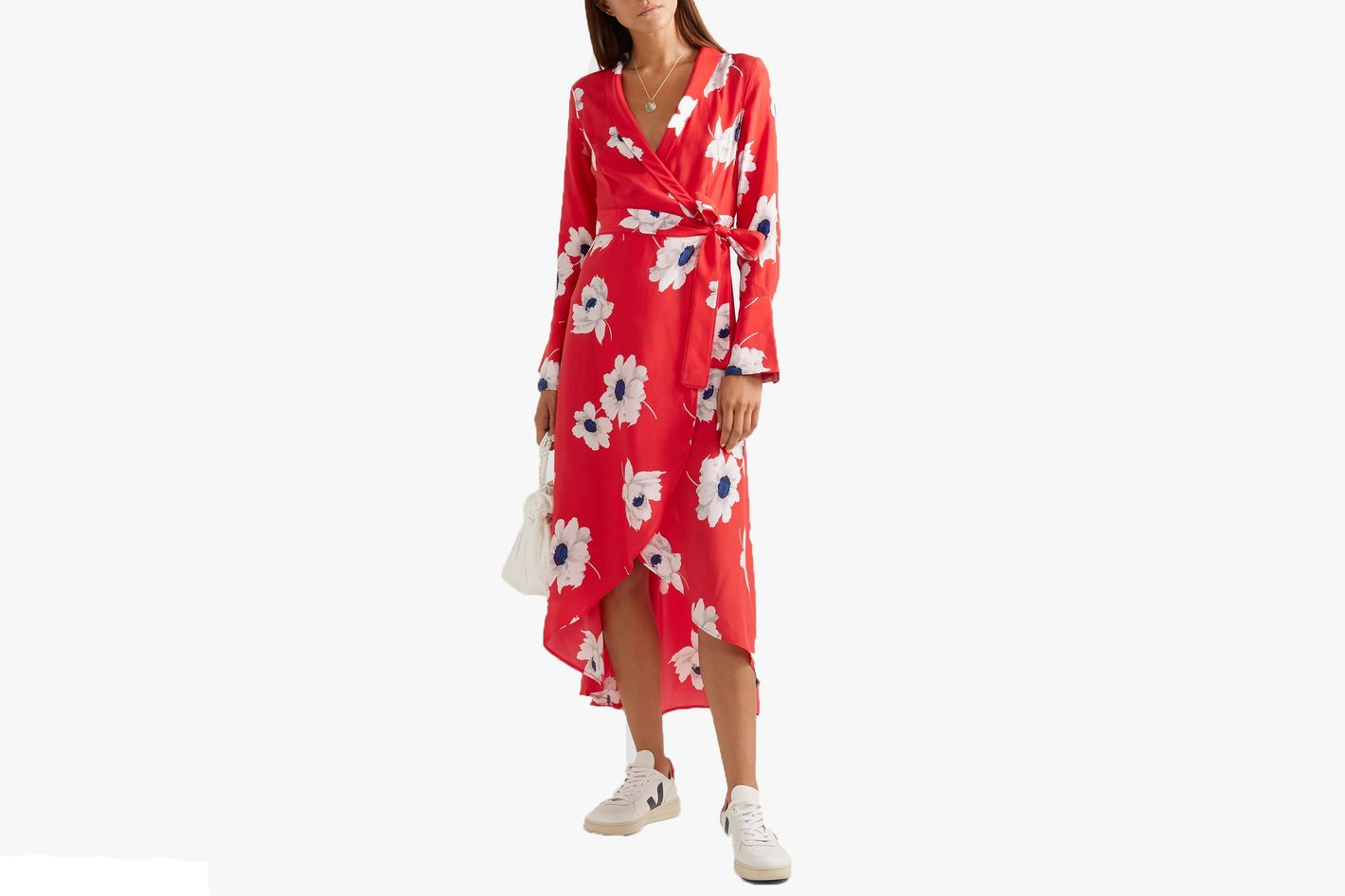 Equipment Gowin floral-print washed-silk wrap midi dress