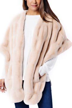 Donna Salyers Fabulous Furs Rosé Mink Couture Faux Fur Pocket Shrug