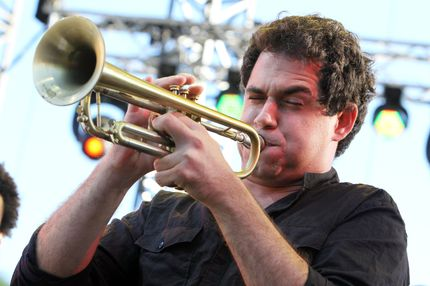 Trumpeter Maiquel Gonzalez performs on the stage of the Nice's Jazz Festival on July 12, 2012 in Nice, southern France.