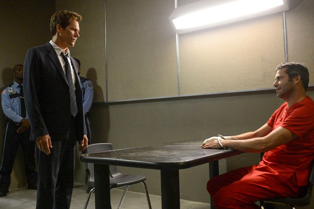 "THE FOLLOWING: Ryan Hardy (Kevin Bacon, L) seeks answers from Joe Carroll (James Purefoy, R) in the ""Chapter Two"" episode of THE FOLLOWING airing Monday, Jan. 28 (9:00-10:00 PM ET/PT) on FOX. ©2013 Fox Broadcasting Co."