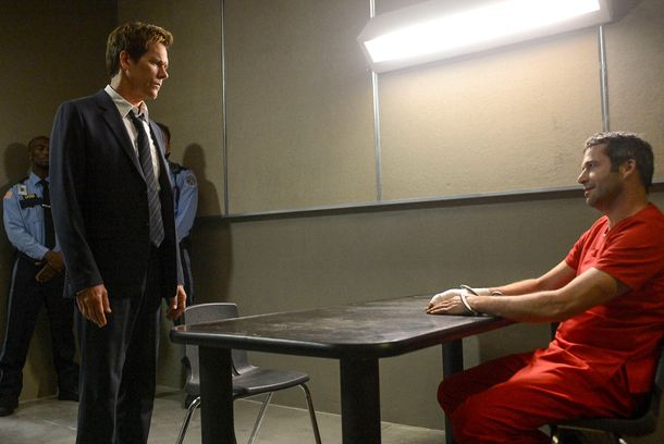 "THE FOLLOWING: Ryan Hardy (Kevin Bacon, L) seeks answers from Joe Carroll (James Purefoy, R) in the ""Chapter Two"" episode of"