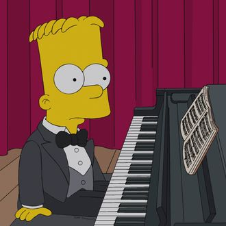 "THE SIMPSONS: Bart plays piano in a talent show in the all-new ""The Fabulous Faker Boy"" episode of THE SIMPSONS airing Sunday, May 12 (8:00-8:30 PM ET/PT) on FOX. THE SIMPSONS ™ and © 2013 TCFFC ALL RIGHTS RESERVED."