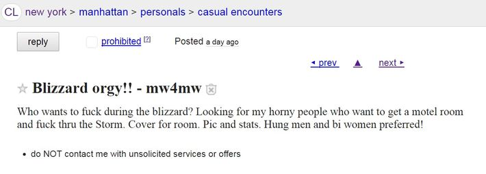New Yorkers Seek Blizzard Stella Sex In Craigslist Ads