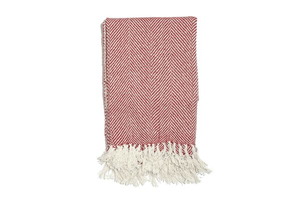 Shop LC Red 100% Cotton Twill Weave Throw
