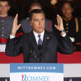 WAYNE, PA - SEPTEMBER 28: Republican U.S. presidential candidate and former Massachusetts Governor Mitt Romney speaks during a rally at Valley Forge Military Academy and College September 28, 2012 in Wayne, Pennsylvania. Romney continued to campaign for his run for the White House in the battleground state of Pennsylvania. (Photo by Jessica Kourkounis/Getty Images)