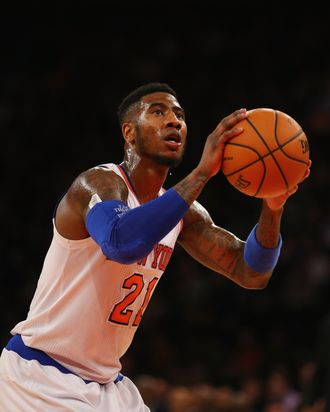 Iman Shumpert #21 of the New York Knicks takes a fouls shot against the Detroit Pistons during their game at Madison Square Garden on January 7, 2014 in New York City.