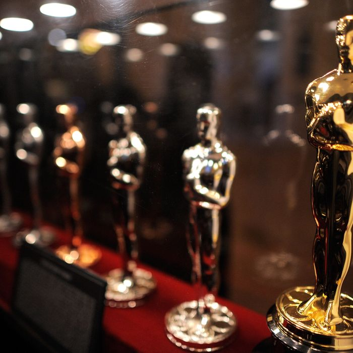 The Oscar Statue production display at the Meet the Oscar Exhibit at Grand Central Terminal