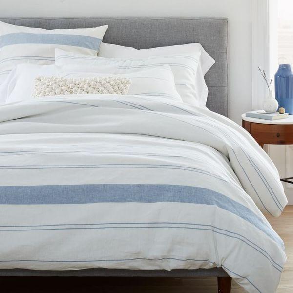 West Elm Hemp & Cotton Serene Stripes Duvet Cover & Shams - Natural/Blue Haze