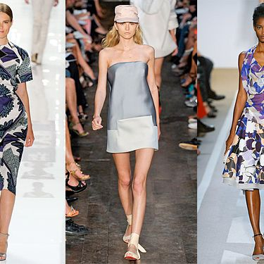 From left: New spring looks from Derek Lam, Victoria Beckham, and Diane Von Furstenberg.