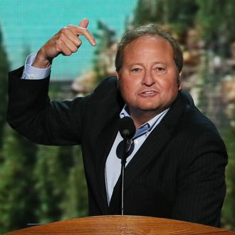 CHARLOTTE, NC - SEPTEMBER 06: Montana Gov. Brian Schweitzer speaks on stage during the final day of the Democratic National Convention at Time Warner Cable Arena on September 6, 2012 in Charlotte, North Carolina. The DNC, which concludes today, nominated U.S. President Barack Obama as the Democratic presidential candidate. (Photo by Alex Wong/Getty Images)