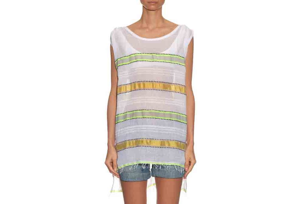 Lemlem Addis Multi-Stripe Capped-Sleeves Cover-Up