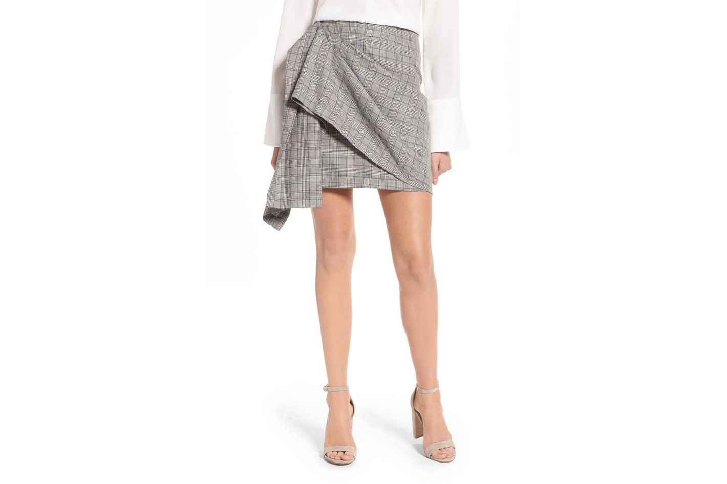 J.O.A. Draped Plaid Wrap Skirt