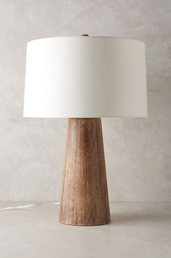 Anthropologie Wood Barrel Table Lamp