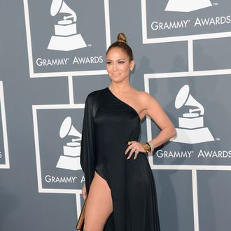 LOS ANGELES, CA - FEBRUARY 10: Singer Jennifer Lopez arrives at the 55th Annual GRAMMY Awards at Staples Center on February 10, 2013 in Los Angeles, California. (Photo by Jason Merritt/Getty Images)