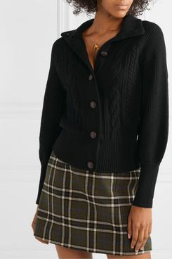 J.Crew Cable-knit Wool Blend Cardigan