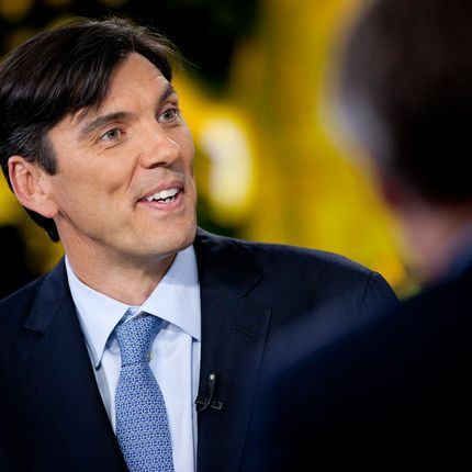 "Timothy ""Tim"" Armstrong, chief executive officer of AOL Inc., speaks during an interview in New York, U.S., on Wednesday, May 9, 2012. AOL Inc., owner of the Huffington Post and TechCrunch, reported a more than fourfold jump in first- quarter profit as online-advertising revenue increased."