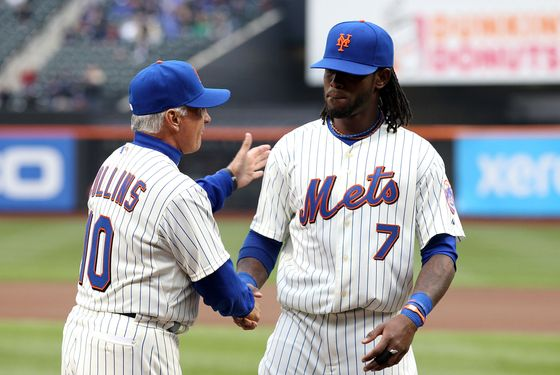 NEW YORK, NY - APRIL 08:  Manager Terry Collins #10 of the New York Mets greets Jose Reyes #7 during player introducitons against the Washington Nationals during the Mets' Home Opener at Citi Field on April 8, 2011 in the Flushing neighborhood of Queens in New York City.  (Photo by Al Bello/Getty Images) *** Local Caption *** Terry Collins;Jose Reyes