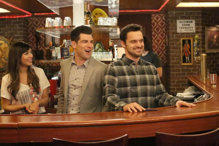 "NEW GIRL:   L-R:  Hannah Simone, Max Greenfield and Jake Johnson in the ""What About Fred"" episode of NEW GIRL airing Tuesday, Jan. 11 (8:00-8:30 PM ET/PT) on FOX.  ©2015 Fox Broadcasting Co.  Cr:  Patrick McElhenney/FOX"