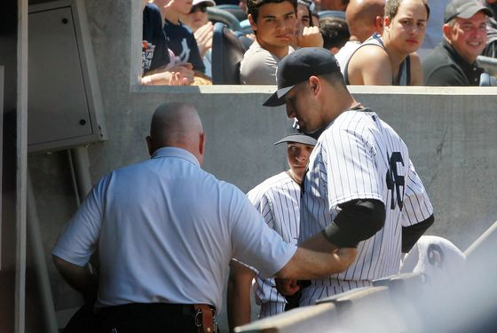 NEW YORK, NY - JUNE 27:  Andy Pettitte #46 of the New York Yankees is helped to the locker room after he was hit with a batted ball in the fifth inning against the Cleveland Indians at Yankee Stadium on June 27, 2012  in the Bronx borough of New York City.  (Photo by Jim McIsaac/Getty Images)