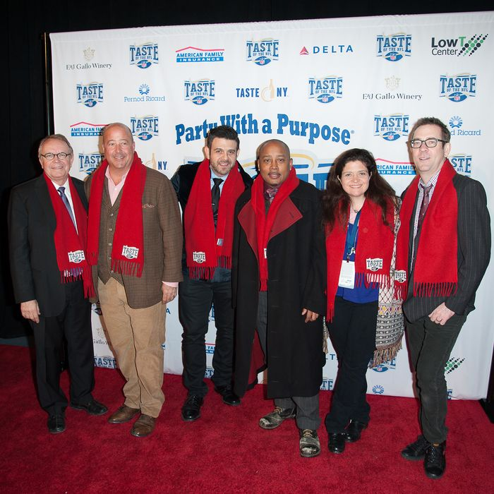 NEW YORK, NY - FEBRUARY 01: (L-R) Wayne Kostroski, Andrew Zimmern, Adam Richman, Daymond John, Alex Guarnaschelli and Ted Allen arrive at Brooklyn Cruise Terminal on February 1, 2014 in New York City. (Photo by Dave Kotinsky/Getty Images for Taste of the NFL)