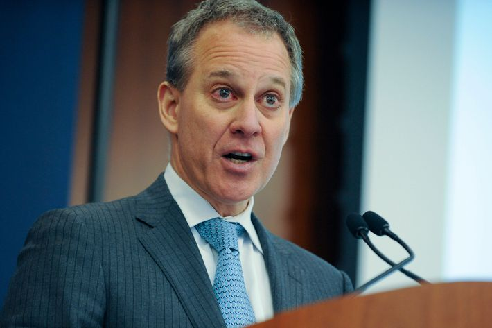 Eric Schneiderman, attorney general of New York, speaks at New York Law School in New York, U.S., on Tuesday, March 18, 2014. Schneiderman has opened a broad investigation into whether U.S. stock exchanges and alternative venues provide high-frequency traders with improper advantages, a person with direct knowledge of the matter said.