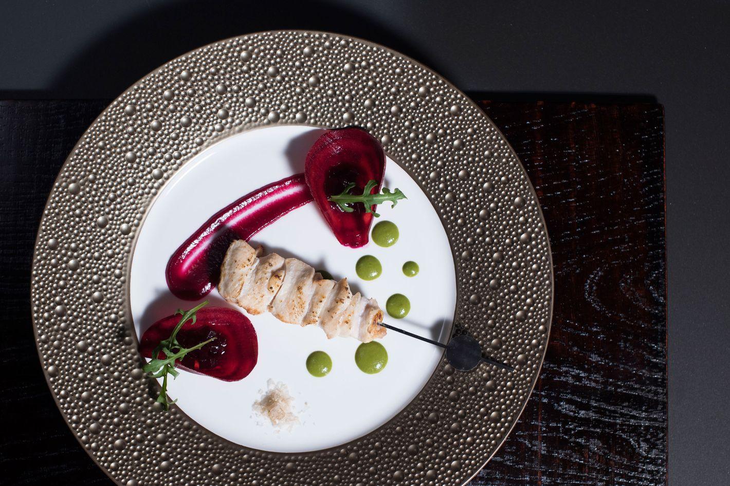 Tori-Mune Konsai: chicken breast, beets, arugula.