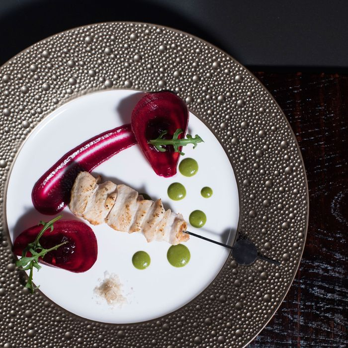 Tori-Mune Konsai: chicken breast, beets, arugula.
