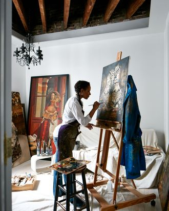 Columba at work in her partially-renovated studio.