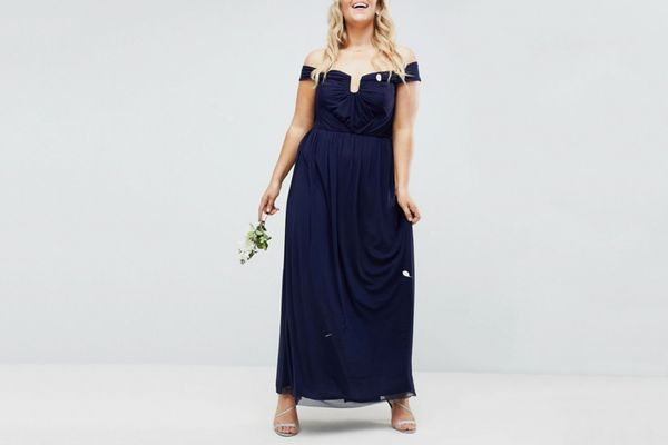 ASOS DESIGN Curve Bridesmaid ruched mesh bardot maxi dress