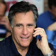 TAMPA, FL - JANUARY 31:  Republican presidential candidate and former Massachusetts Gov. Mitt Romney works the phones for votes at his campaign headquarters on January 31, 2012 in Tampa, Florida. Romney has a double-digit lead going into the Florida primary today. (Photo by Joe Raedle/Getty Images)