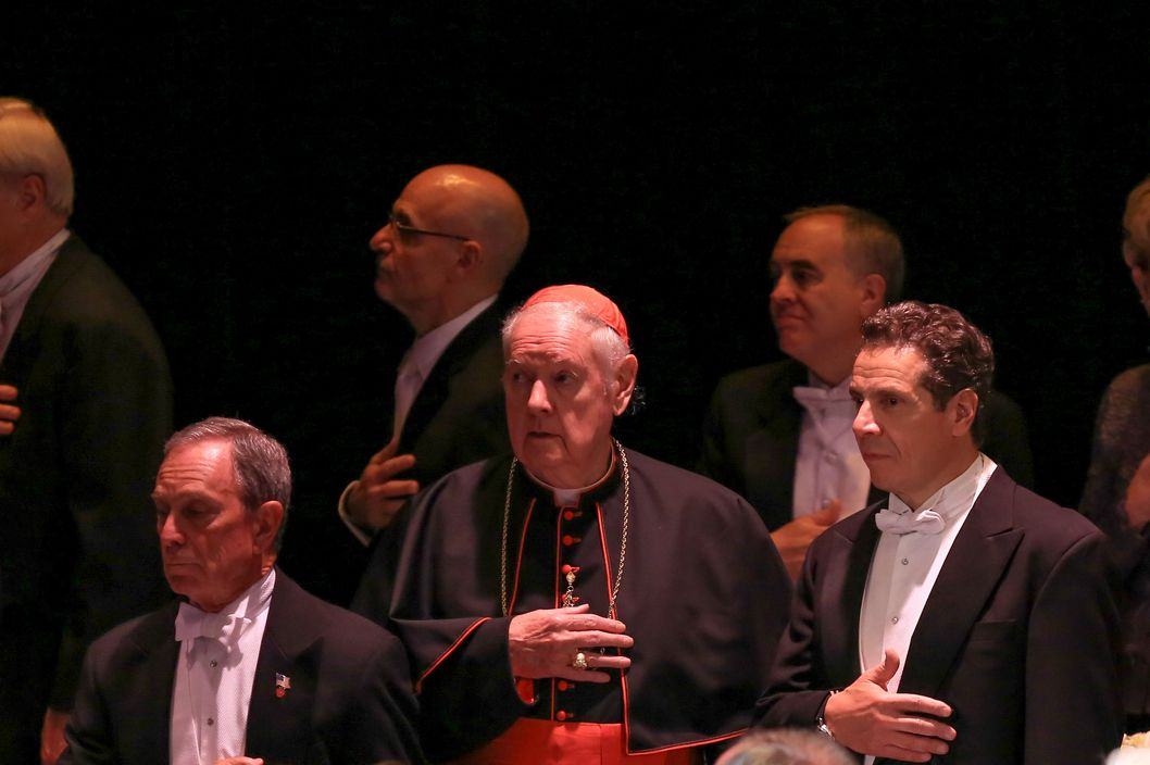 (L-R) Mayor Michael Bloomberg, Cardinal Edward Egan and Govenor Andrew Cuomo attend the 68th Annual Alfred E. Smith Memorial Foundation Dinner at The Waldorf Astoria Hotel on October 17, 2013 in New York City.