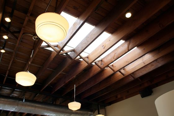 Co-Founder JP Iberti believes you can only tell the coffee bean's color accurately by natural light, so the cafe has a series of skylights.
