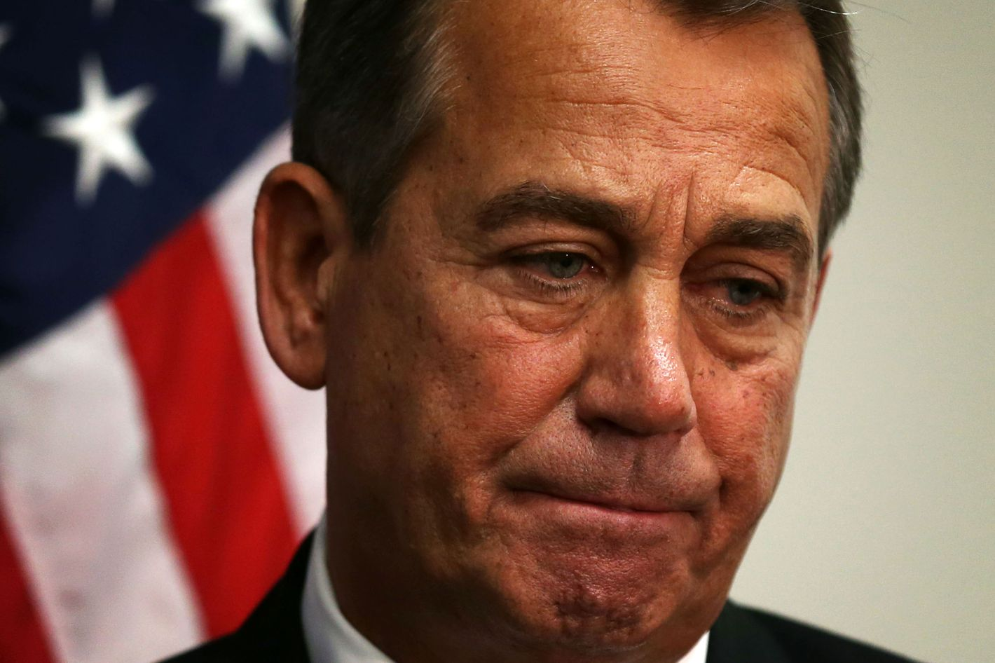 U.S. Speaker of the House Rep. John Boehner (R-OH) listens during a media availability after a House Republican Conference meeting December 18, 2012 on Capitol Hill in Washington, DC. Speaker Boehner announced that he is moving to a plan B to solve the fiscal cliff issue and he will put a bill on the floor that increases taxes for people whose incomes are more than one million dollars.