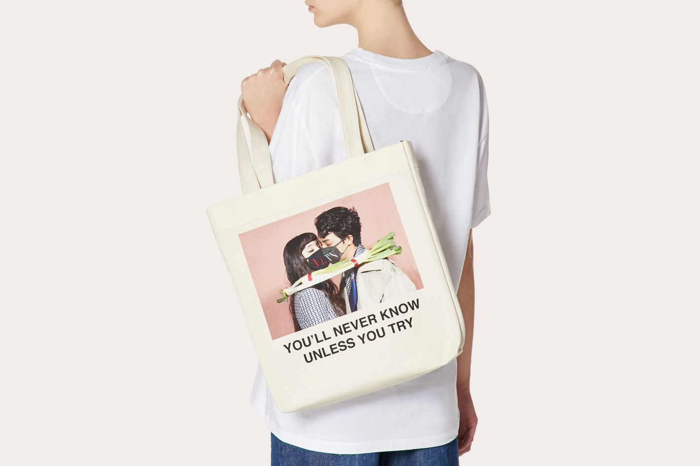 """Shopper With """"You'll Never Know Unless You Try"""" Print"""