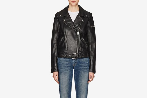 7 For All Mankind Smooth Leather Biker Jacket