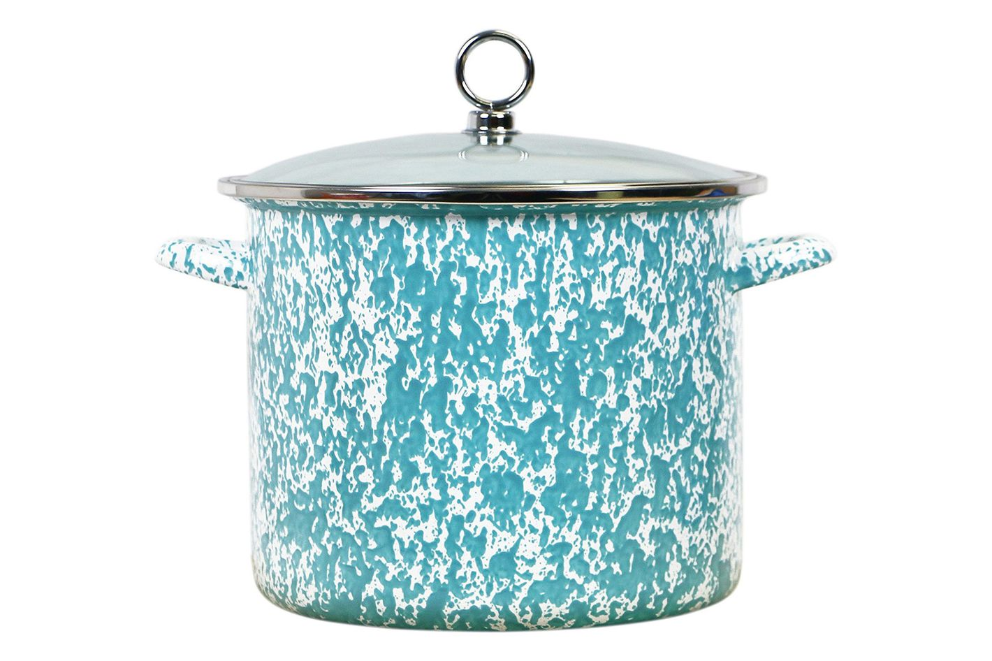 Calypso Basics by Reston Lloyd Vintage Marble Enamel on Steel Stockpot With Glass Lid, 8-Quart, Turquoise