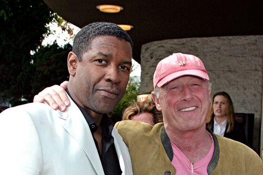"Actor Denzel Washington (L) and director Tony Scott attend Regency Enterprises and Twentieth Century Fox's ""Man on Fire"" Premiere at Mann National Theatre April 18, 2004 in Westwood, California."