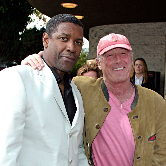 Actor Denzel Washington (L) and director Tony Scott attend Regency Enterprises and Twentieth Century Fox's
