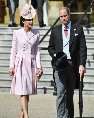 Kate Middleton and Prince William at a Buckingham Palace garden party.