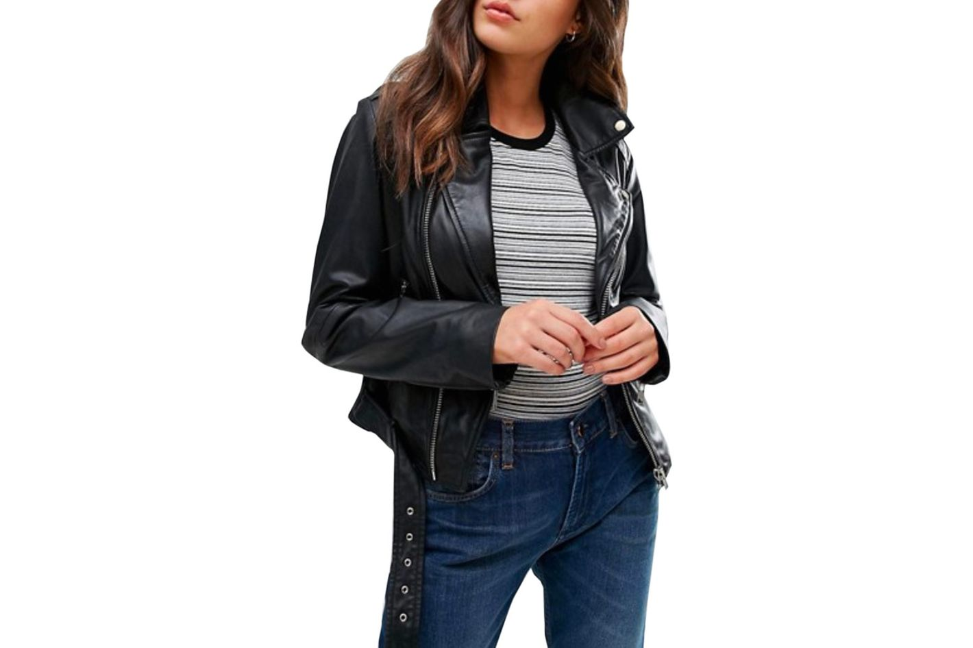 Barney's Originals Zip Detailed Biker Jacket